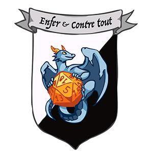 logo d'Enfer et Contre Tout qui représente une bannière avec un dragon tenant un dé à 20 faces