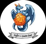 un dragon tenant un dé à 20 faces avec la bannière Enfer et Contre Tout en dessous